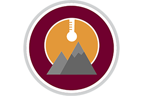 mountains and thermometer logo